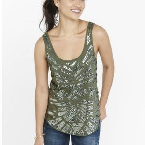 NEW Express Olive Green Sequin Tank Cami S